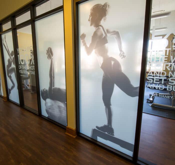 fitness room window graphics