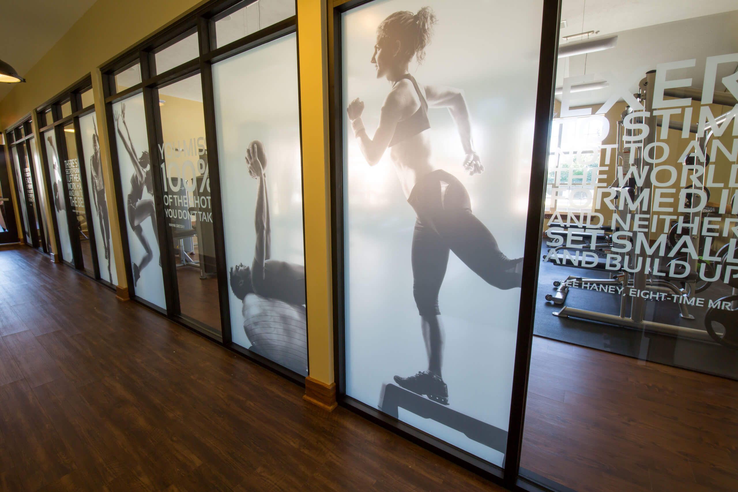 fitness room window graphics