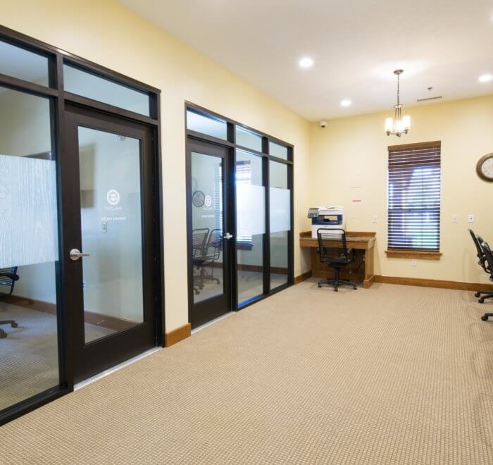 study room with private glass doors